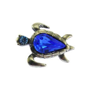 Silver and Blue Rhinestone Turtle Pin